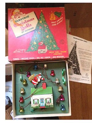 Vintage Christmas Tin Litho Toy Xmas Electric Bells