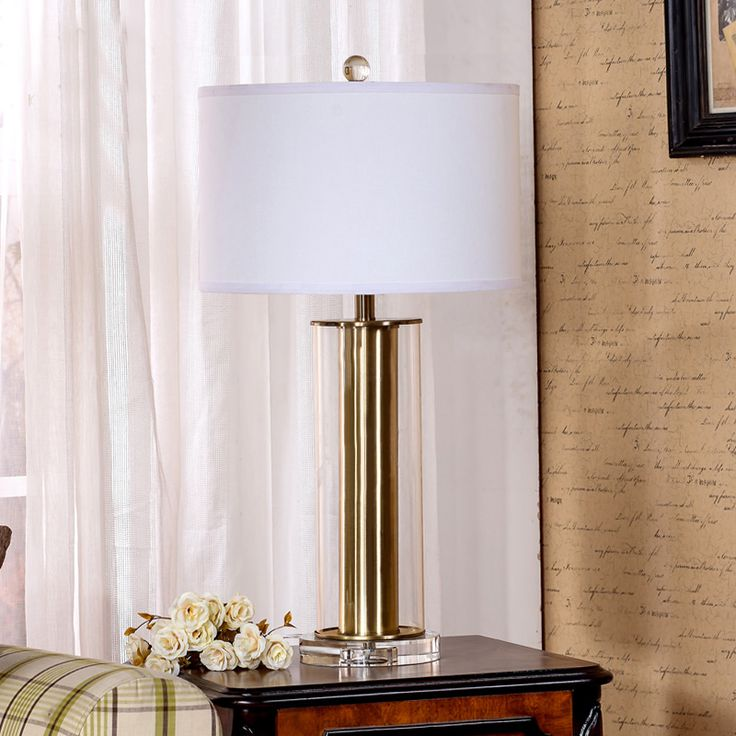 Classical Gold Glass Crystal Base Table Lamp Modern Hotel Lobby Room Living Room Bedroom Bedside