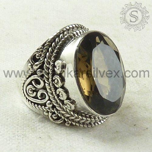 Smoky Quartz Gemstone Ring At www.shankarsilvex.com