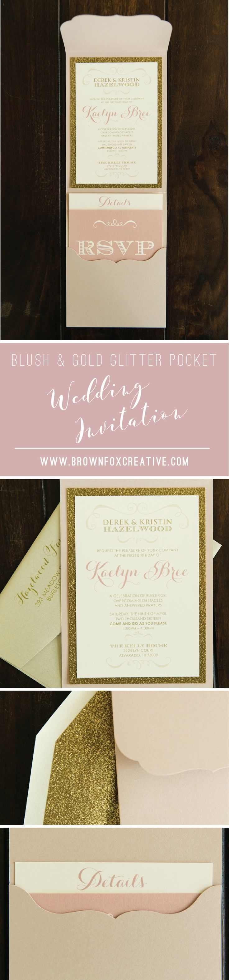 how to return address wedding envelopes%0A  x  Bush Pink  Gold Glitter  u     Scalloped Die Cut Pocket Wedding Invitation  with Inserts and