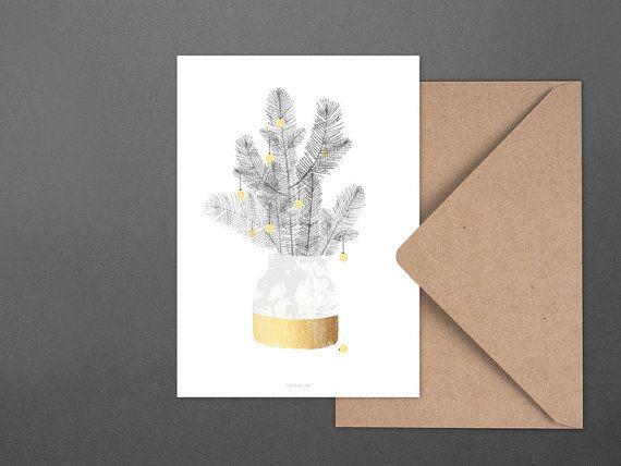 Carte de Noël urbain Noël no. 1 / vase, branche, post card, voeux carte, cadeau, Noël, art de la typographie, art print