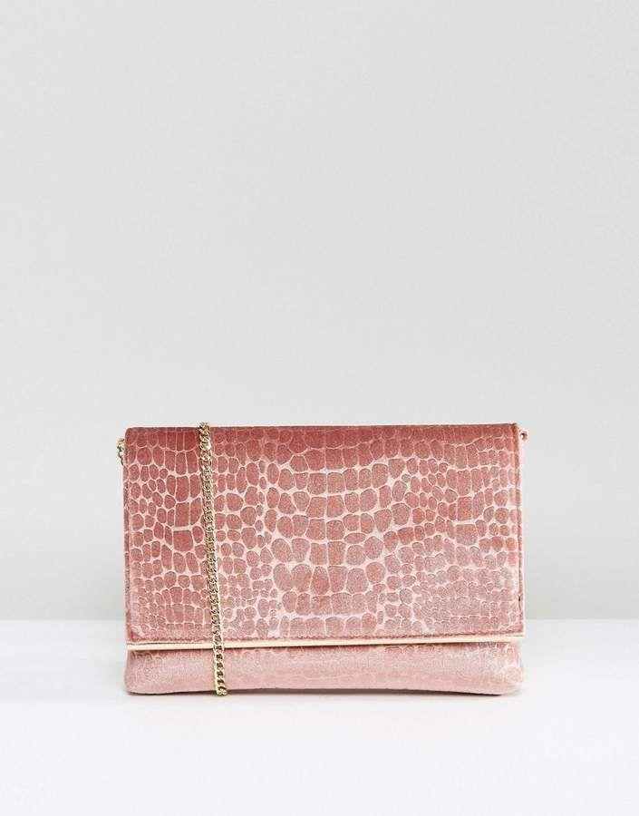 Dune Velvet Clutch Bag With Crossbody Strap