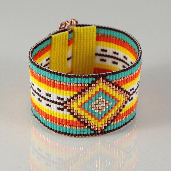 Serape dorato stile messicano Loom gioielli braccialetto di perline gioielli artigianali del sud-ovest Boemia tribale arancia nativo americano ispirato di perline