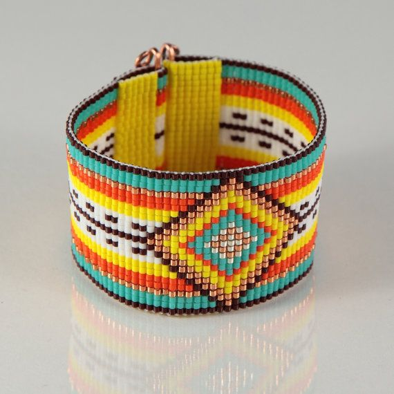 Golden Serape Mexican Style Bead Loom Bracelet  by PuebloAndCo, $44.99