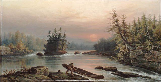 Portage à l'île Two Rivers, aquarelle par Frederick Arthur Verner, 1874. Bibliothèque et Archives Canada, no d'acc 1996-352.