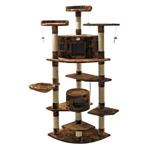 80 inch high large multi level cat condo tree furniture scratcher brown itu0027s a jungle gym - Cat Jungle Gym