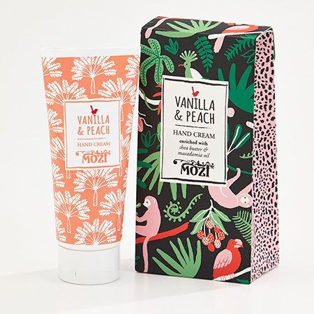 Mozi's branding is very vibrant and fun. These would attract an age group of young adults, but nothing older. The pattern looks like it could have been lino printed, and the overall design looks very fresh. The pattern repetition on the lotion bottle  is very appealing, and not too overwhelming. The tall thin typeface is a type that has become very popular in society.  mozi.com.au/products/the-out-of-africa-collection/hand-cream---vanilla-peach