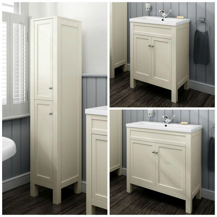 Traditional Clotted Cream Bathroom Vanity Unit Basin Furniture Storage Cabinet