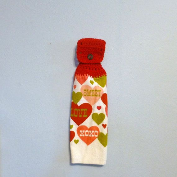 Hanging Kitchen Towel Valentines Day Hearts Red by DebbieCrochets