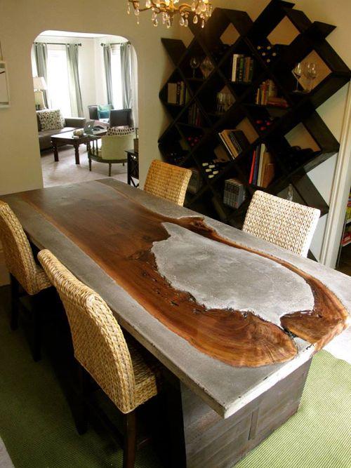 wood concrete table