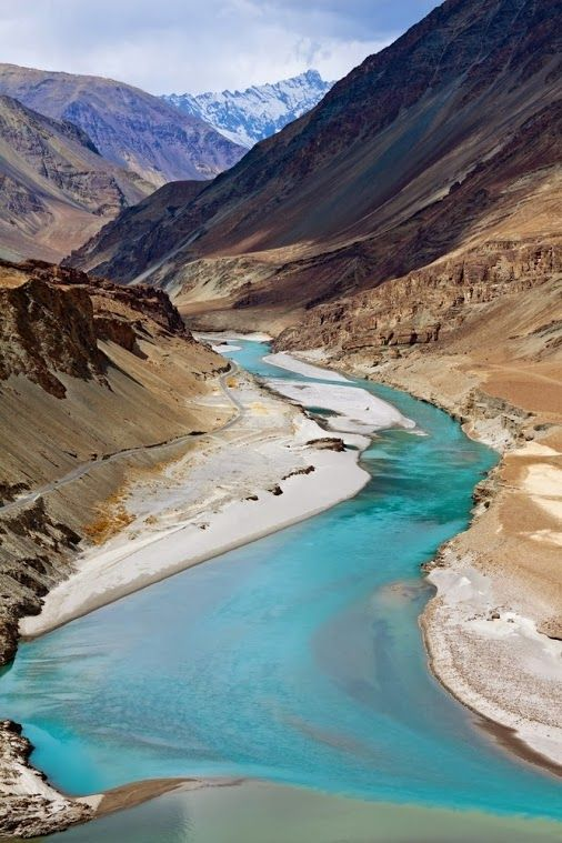Confluence of Zanskar and Indus rivers - Leh, Ladakh, India.