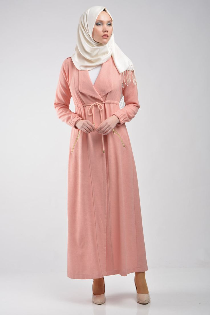 Pink Open Front Abaya