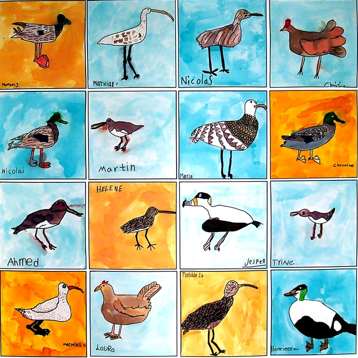 Birds, 30 x 30 cm, 8 year old children, with artist Britta Johanson