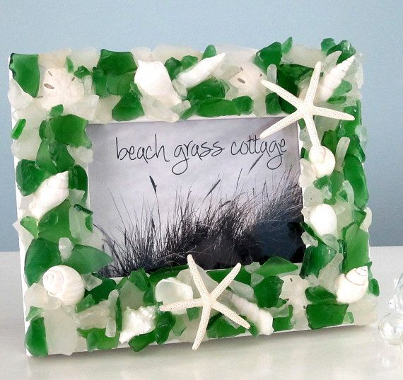 Sea Glass Frame Seashell Frame Beach Decor by beachgrasscottage