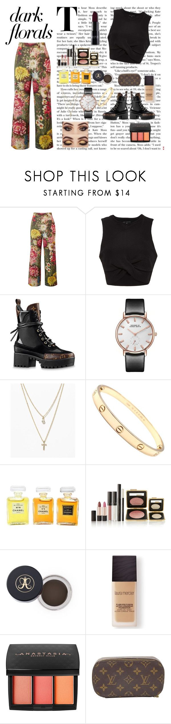 """dark florals"" by itsvaleriaaa ❤ liked on Polyvore featuring Gucci, Tori Praver Swimwear, Louis Vuitton, LOFT, Cartier, Chanel, Estée Lauder, Anastasia Beverly Hills and Laura Mercier"