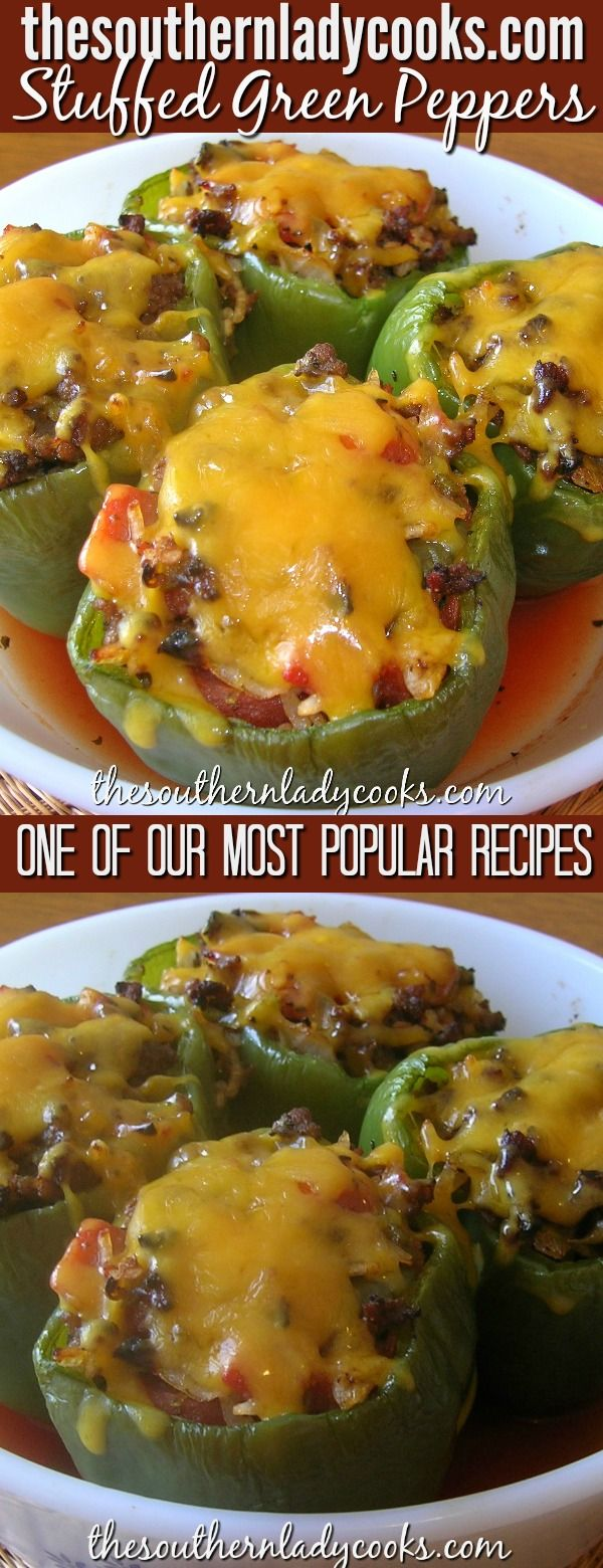 Gefüllte grüne Paprikaschoten machen jederzeit eine wunderbare Mahlzeit. Sie sind eine unserer p …
