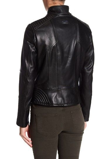 Stand Collar Asymmetrical Moto Leather Jacket by Vince Camuto on @nordstrom_rack