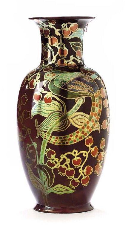 Zsolnay multikolor eozin váza bogyós ágon ülő paradicsommadárral