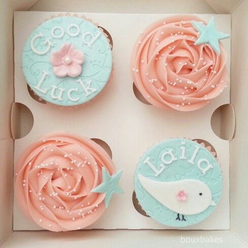 Teal and pink good luck cupcakes