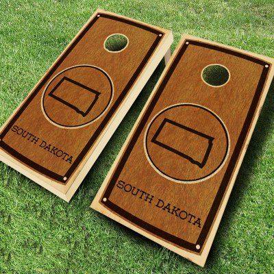 Ajj Cornhole State Stained Cornhole Set 4 Red/4 Black Bean Bags - 109-STATE STAIN SOUTH DAKOTA RED/BLACK, Durable