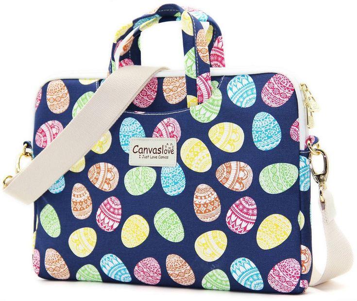 Blue Easter Egg Pattern Canvas Laptop Shoulder Bag Messenger Case Sleeve Bag #Canvaslove