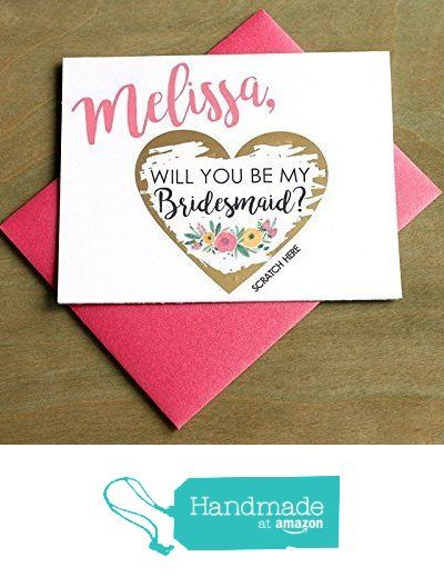 PERSONALIZED Scratch Off GOLD HEART Will you be my: Maid of Honor, Matron of Honor, Bridesmaid Ask Card with Metallic Envelope. Will you be my bridesmaid? Card from Petal Paper Co. https://www.amazon.com/dp/B01FL7R60S/ref=hnd_sw_r_pi_dp_QnSLxbRW175Q2 #handmadeatamazon