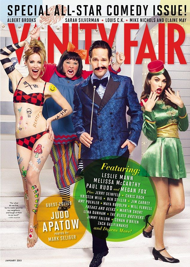 In costume: In the comedy issue of Vanity Fair Leslie Mann wears a bikini and body paint à la Goldie Hawn while Melissa McCarthy dresses as Lily Tomlin's Edith Ann; Paul Rudd plays an oily show host, and Megan Fox an alluring bellhop