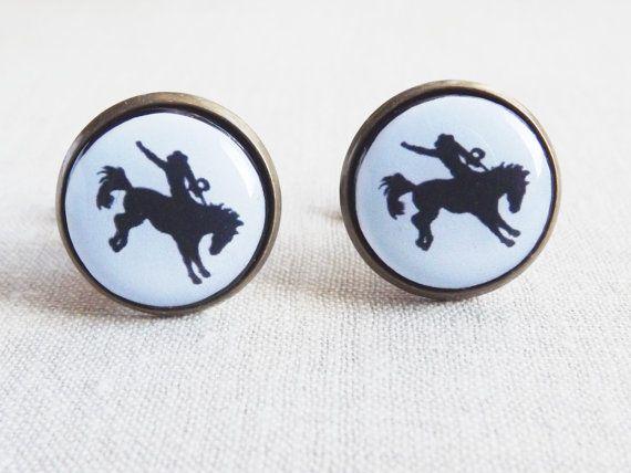 Men Cufflinks Horse Cufflinks Black Horse Cufflinks Western