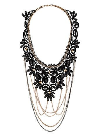 Black lace and chain necklace