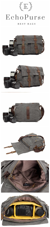 Canvas DSLR Camera Bag, Cross Body Messenger DSLR Camera Bag 2138L