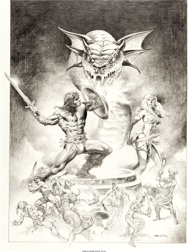 Boris Vallejo Conan the Barbarian Movie Poster Pencil Illustration | Lot #92370 | Heritage Auctions