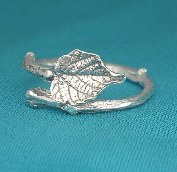 twig ring grape leaf ring botanical vinyard jewelry sterling silver