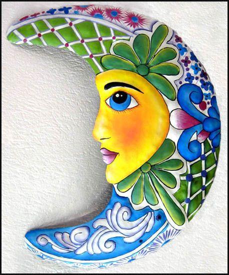 """Green & Blue Celestial Moon Painted Metal Wall Hanging - Garden Art -19"""" x 24"""" - tropicdecor.com"""