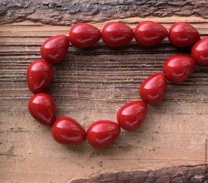 Для украшений ручной работы. Ярмарка Мастеров - ручная работа. Купить Жемчуг Майорка 16 мм капли бордовый бусины для украшений. Handmade.