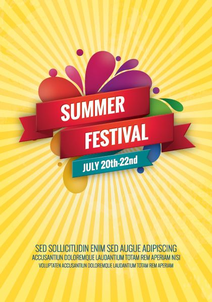Summer Festival poster. This encoporates the colour theme and gives a rough idea of what our poster would look like.
