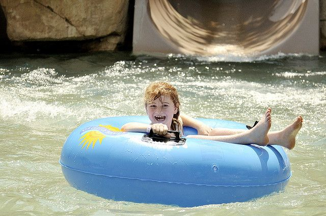 Catching a ride in the lazy river at the Valley of the Waves