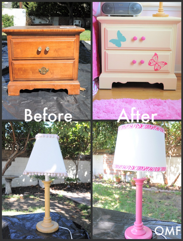 Before after of nightstand and lamp for my little girls for Cute nightstand ideas