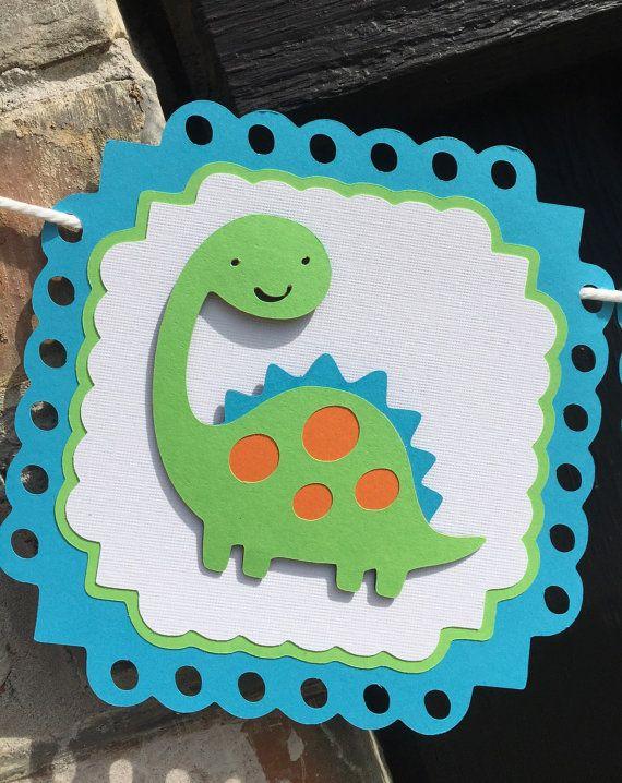 Bandera de dinosaurio cumpleaños de dinosaurio por Skrapologie