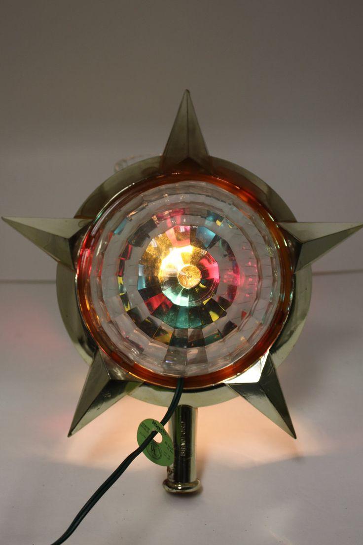 Bradford christmas ornaments - Vintage Bradford Celestial Star Motion Light Christmas Tree Topper
