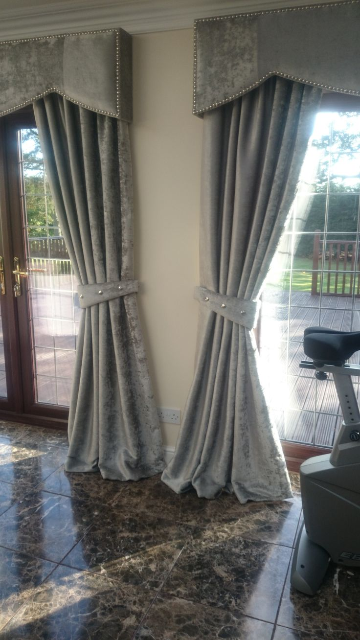 Open window with curtains blowing - Crushed Velvet Curtains With Hard Wood Upholstered Pelmets And Studs