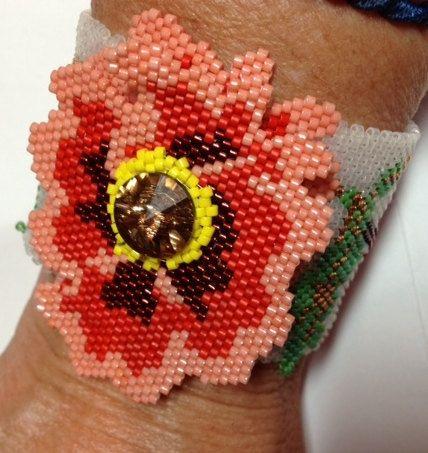 BP-BR-012 Poppies Brick Stitch Shaped Beadwork by TrinityDJ