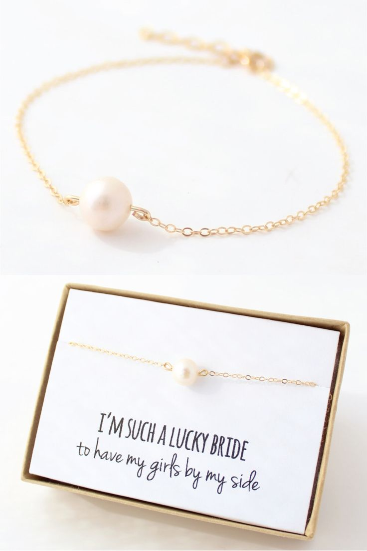 Pearl / Gold Bridesmaid Bracelet - Pearl Bridesmaid Jewelry -  Freshwater Pearl - Single Pearl Bracelet - Delicate - Bridesmaid Gift by ForTheMaids on Etsy https://www.etsy.com/listing/157705121/pearl-gold-bridesmaid-bracelet-pearl