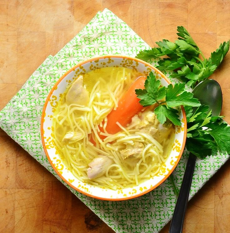 Chicken Vegetable Soup with Vermicelli (Rosol)