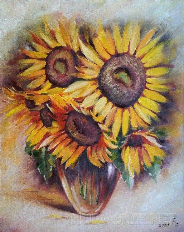Солнца привет Золотые подсолнухи напоминают о лете. Яркая солнечная картина украсит комнату в теплых тонах.      Цветок подсолнуха -  символ радости, благополучия и долголетия. Это — знак доброй силы, используется с давних времен как сильный защитный талисман.        Выполнена на льне, натянутом на подрамник.