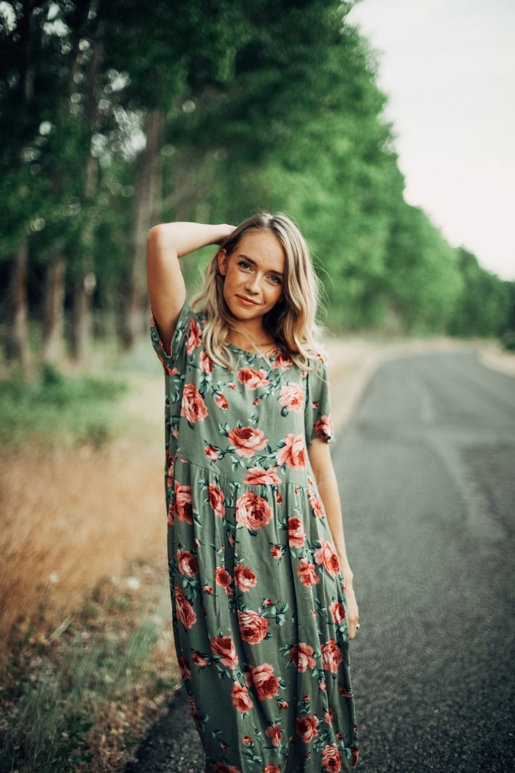 THE MARIAH ROSE FLORAL DRESS IN OLIVE// DRESSES// WOMENS CLOTHING// DRESSES CASUAL