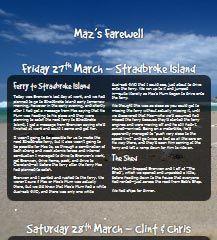 Maz's Farewell   Fri 27th Mar to Thu 2nd Apr 2015 — Ned Martin's Dot Org