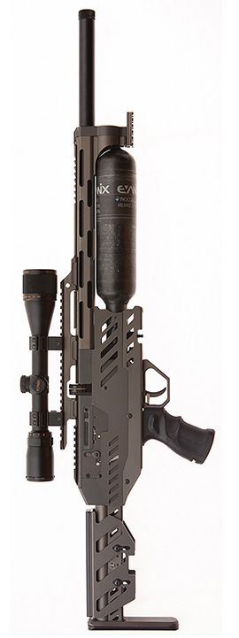 !!! That's one hell of a pellet/paint gun, what the hell is this? The size of the CO2 canister leads me to think paintball but damned if I can figure out where the ammo wound feed into...