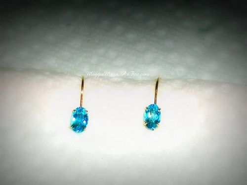 Swiss Blue Topaz Jewelry Dangle Earrings, 14K YG, Leverback Design ...