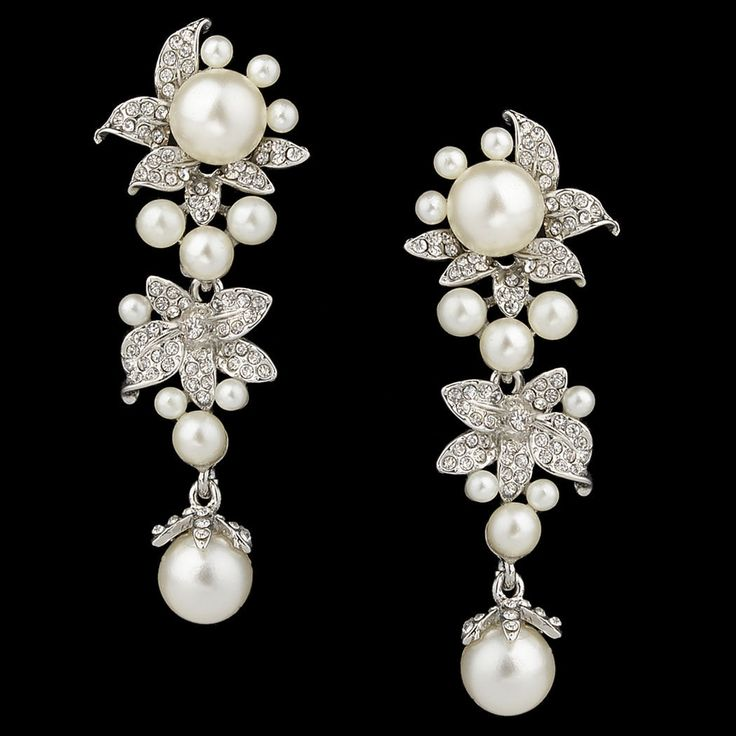 "PAIR Silver Flower Faux Pearl Dangle Crystal Gauges Plugs Earrings 0g 00g 7/16"" 1/2"" 9/16"" 5/8"" 3/4"" 8mm 9mm 11mm 12mm 14mm 16mm 17mm 19mm"
