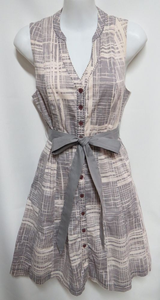 Maeve Anthropologie Gray Lavender Cotton Stretch Belted Shirt Dress 2 #Maeve #ShirtDress